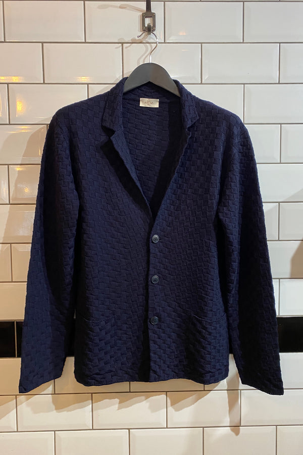 Check Weave Cardigan Navy