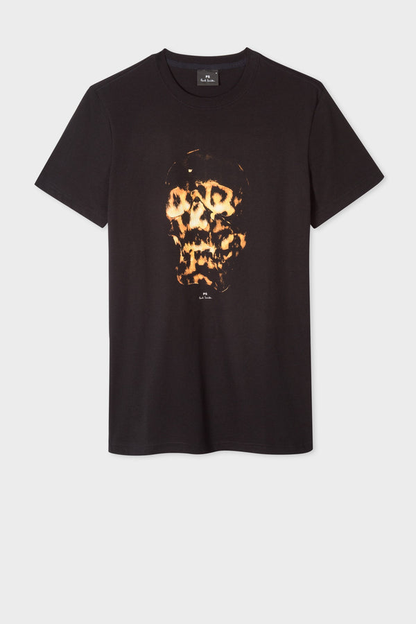 Flaming Skull Tee Black