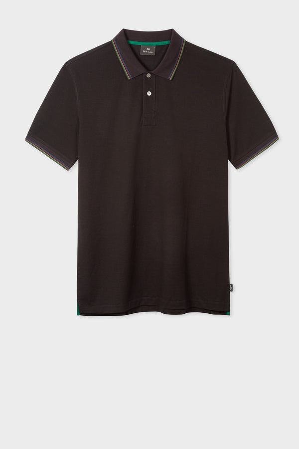Reg Fit Mercerised Polo Black