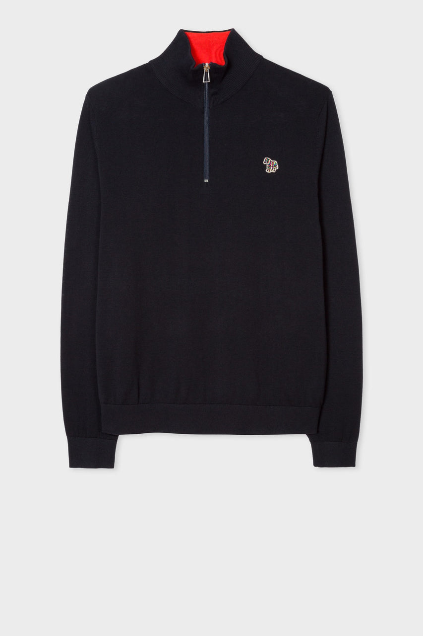 Zip Neck Zebra Knit Dark Navy