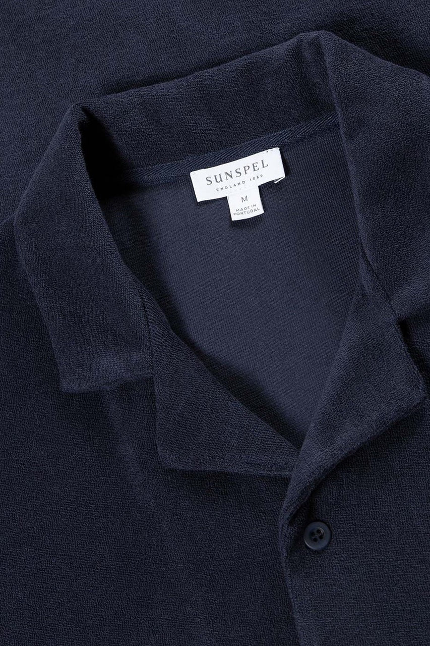 Towelling Camp Collar Shirt Navy