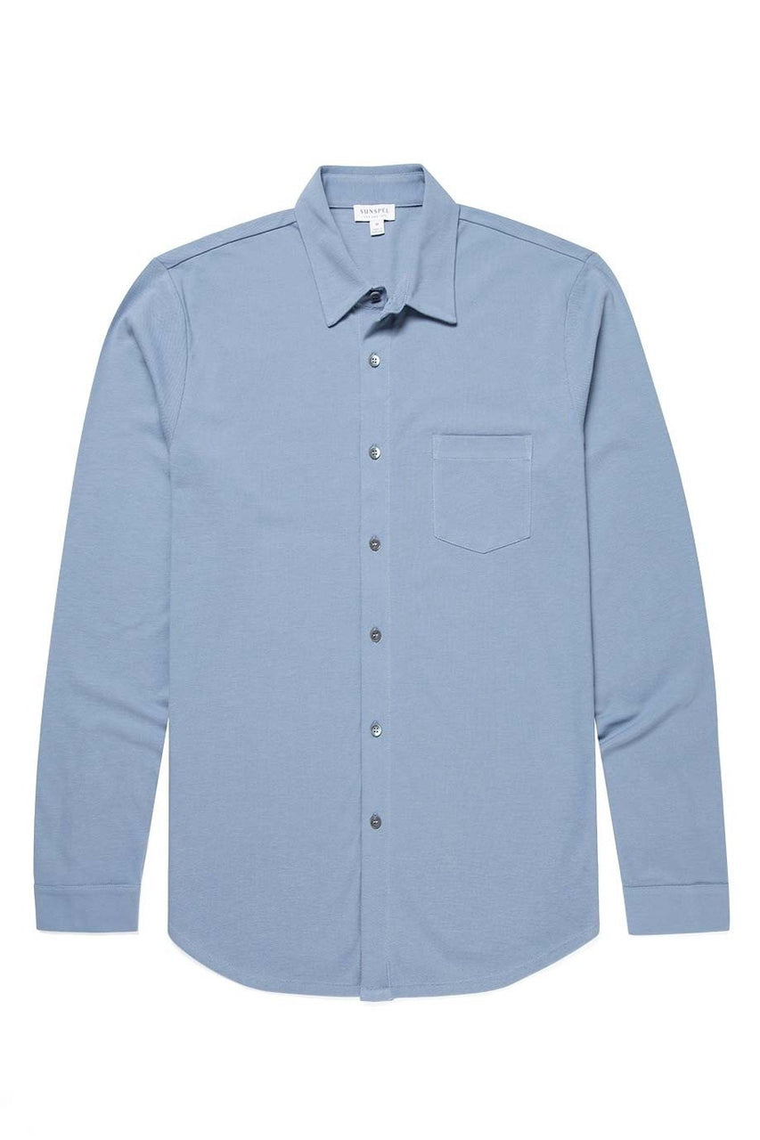 Long Sleeve Pique Shirt Blue Sky