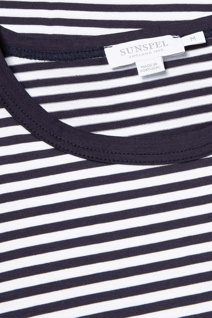 Striped Crew Neck Tee White/Navy