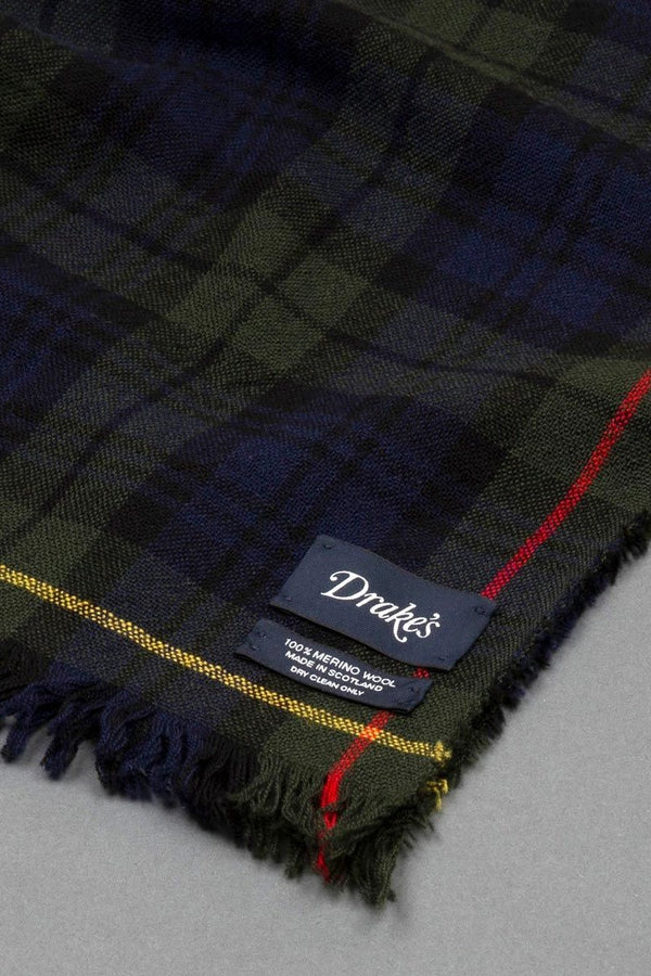 Light Crinkle Scarf Navy Check