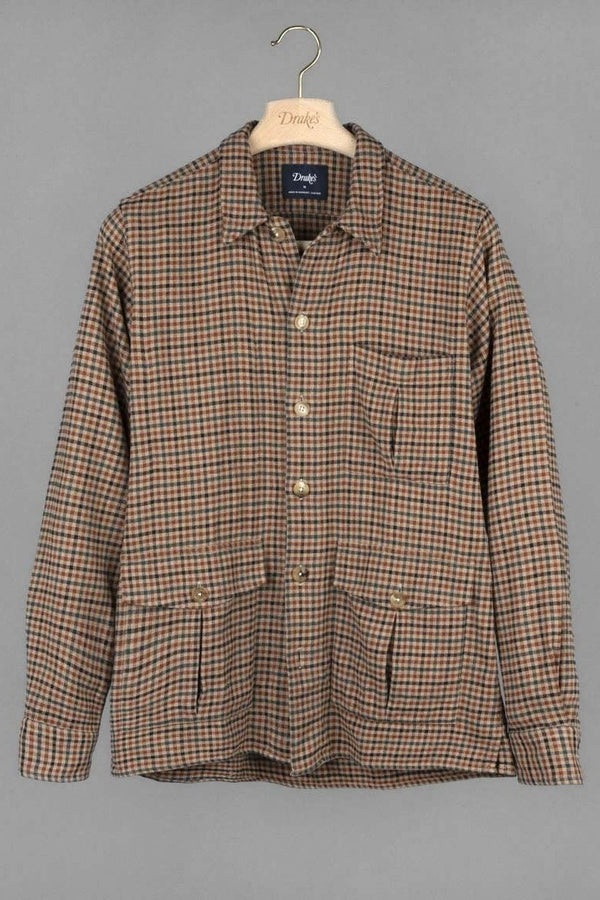 Check Flannel Overshirt Brown Green
