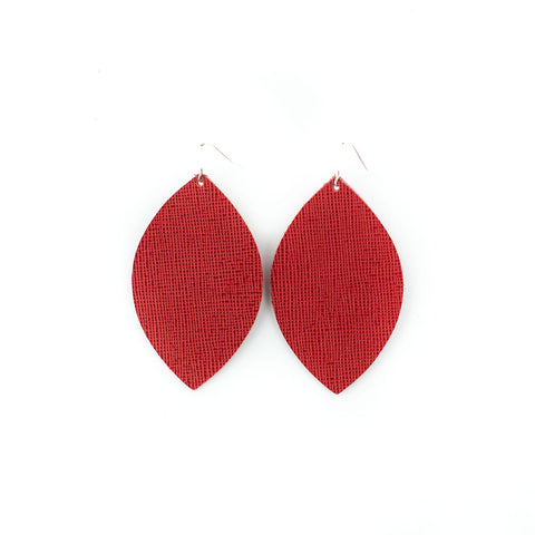 Poppin Red Leather Earrings