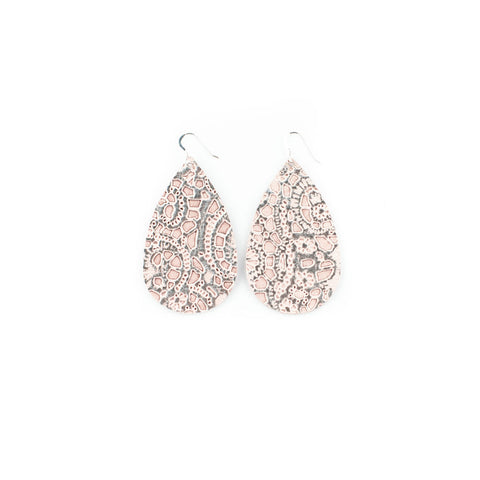 Silver Lace Leather Earrings