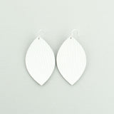 White Linnen Leather Earrings