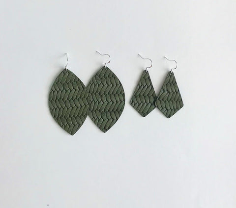 Olive Leather Earrings