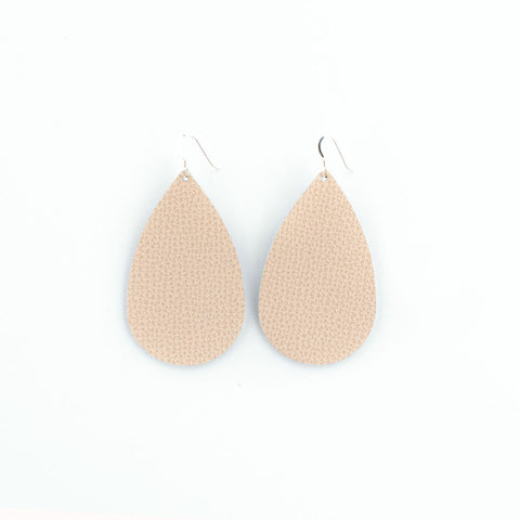 Nude Pink Leather Earrings