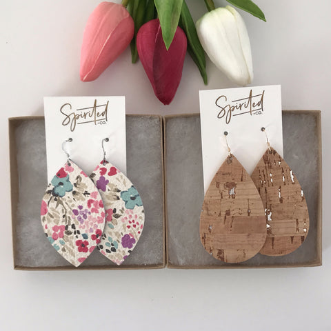 Spring Floral and Silver Cork Earring Gift Set