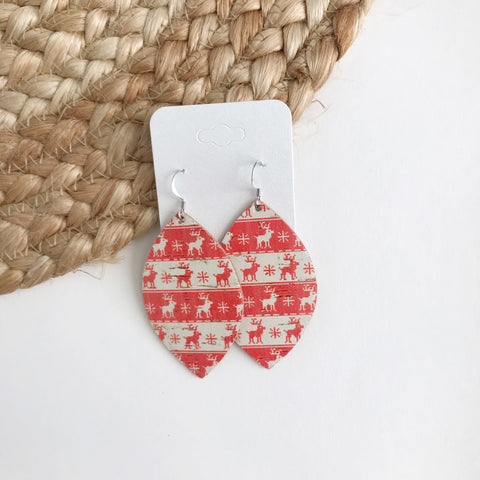 Christmas Reindeer Cork Leather Earrings