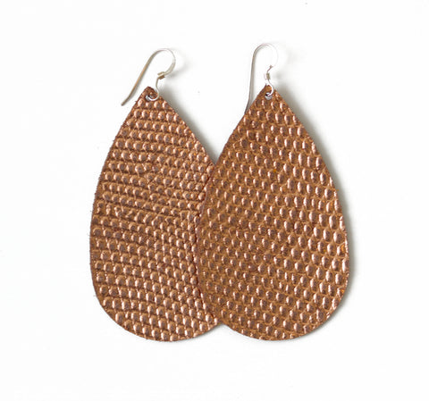 Antique Rose Gold Leather Earrings