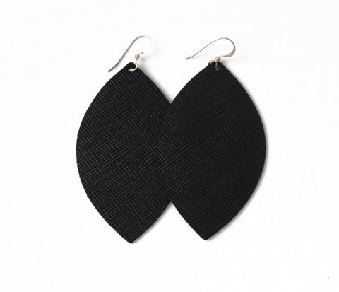 Jet Black Leather Earrings