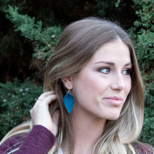 Blue Suede Leaf Earrings
