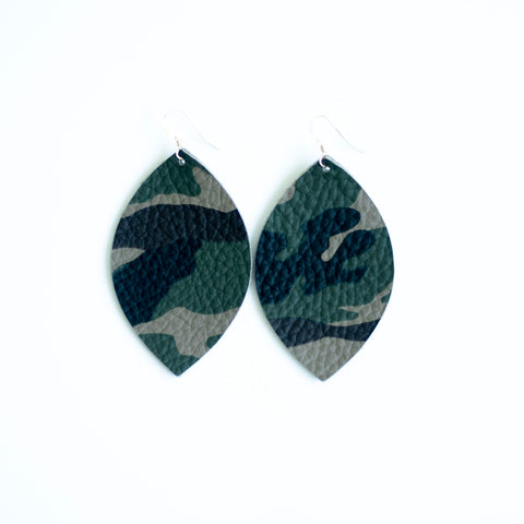 Camo Leather Earrings