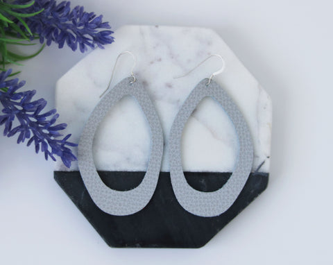 Light Gray Hoop Leather Earrings