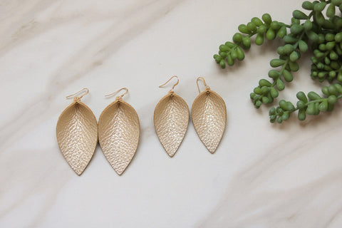 Creamy Leather Leaf Earrings