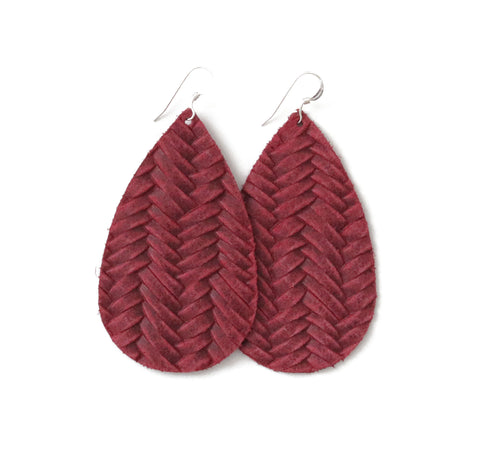 Raspberry Leather Earrings