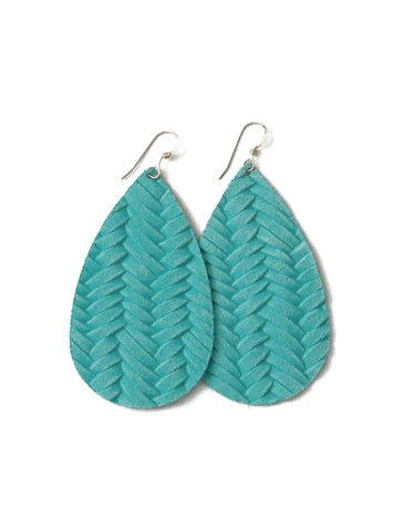 Aqua Marine Leather Earrings