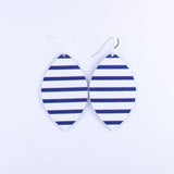 Navy + White Striped Leather Earrings