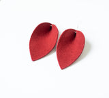 Red Suede Leaf Earrings