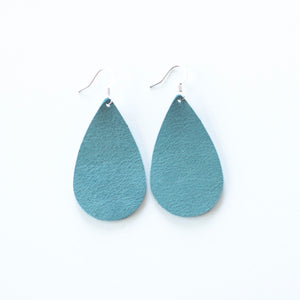 Ice Blue Leather Earrings
