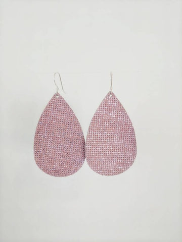 Sparkle Pink Leather Earring