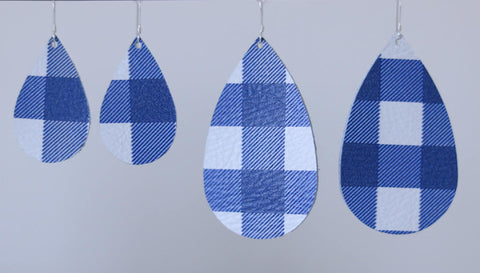 Blue Buffalo Plaid Leather Teardrop Earrings