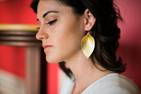 Glamour Gold Leaf Leather Earrings