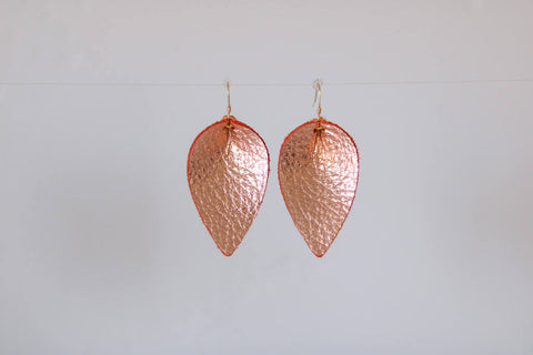 Rose Gold Leather Leaf Earrings