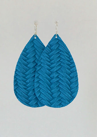 Carolina Blue Leather Earrings