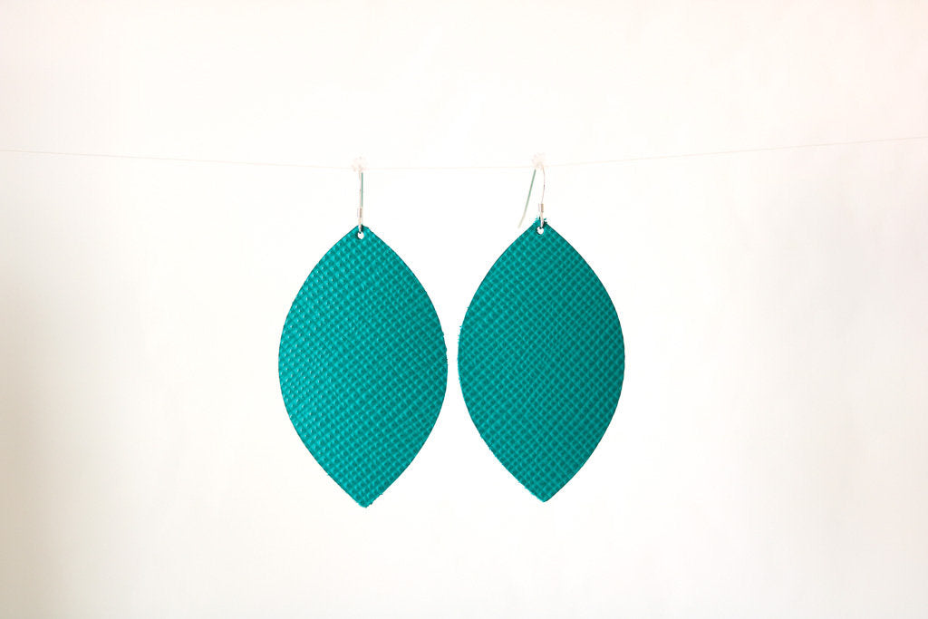 Aqua Green Leather Earrings