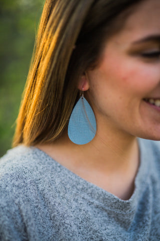 Little Boy Blue Leather Earrings