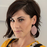 Pink Cork Leather Earrings