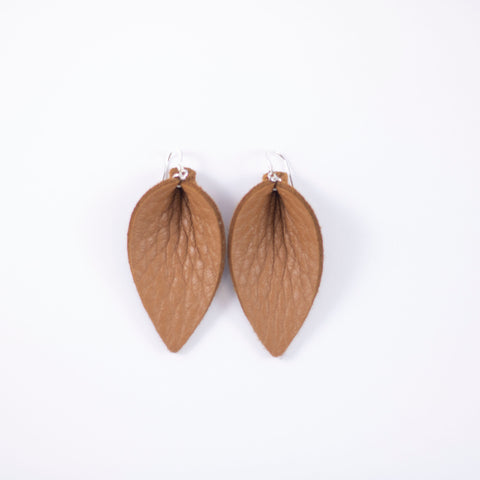 Salted Caramel Leather Leaf Earrings