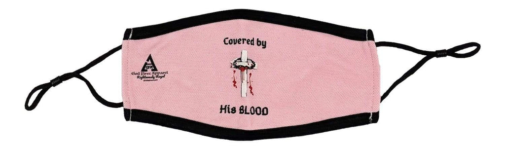 Covered by His Blood Adjustable Masks Masks God First Apparel (GFA)