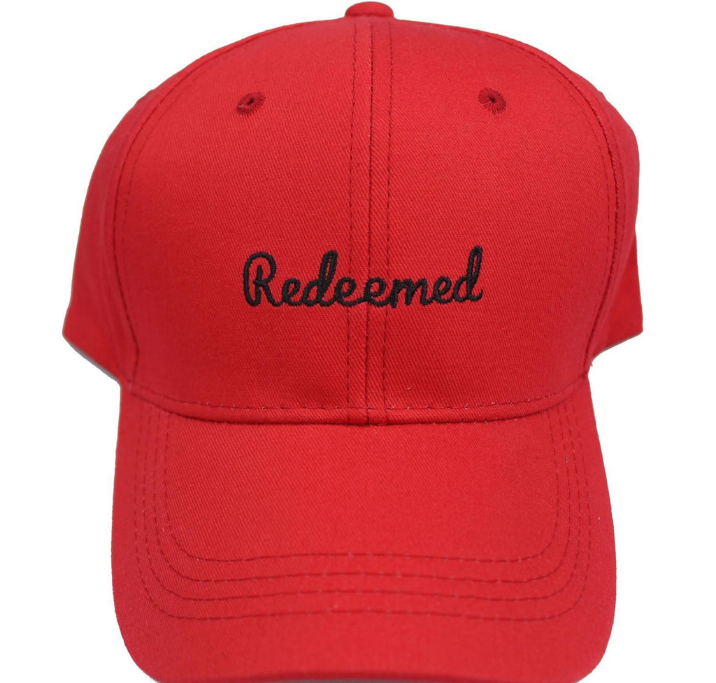 """Redeemed"" Unisex Dad Hats dad hats God First Apparel (GFA) Red"