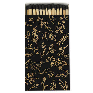 Frankie & Claude – Large Match Box: Black & Gold Foil Floral