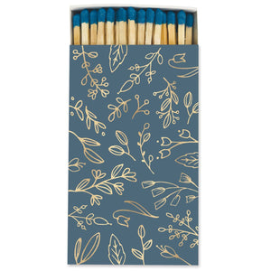 Frankie & Claude – Large Match Box: Deep Blue & Gold Foil Floral
