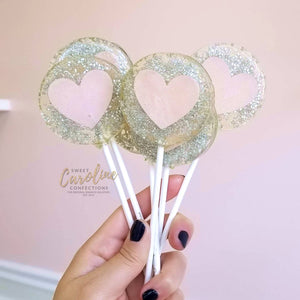 Sweet Caroline Confections - Silver & Pink Heart Lollipops, Champagne