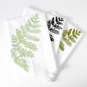 Bird Mafia - Lady Fern Flour Sack Towel (Moss & Mint)
