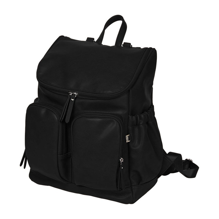 OiOi Faux Leather Nappy Backpack - Black Nappy Bag OiOi