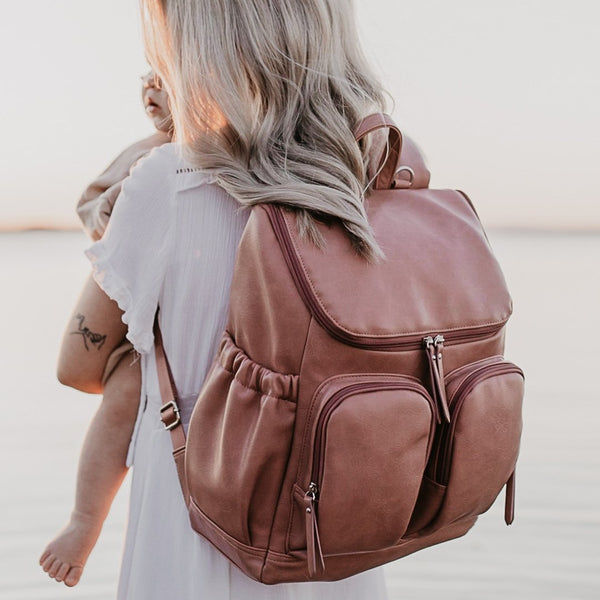 OiOi Faux Leather Nappy Backpack - Dusty Rose Nappy Bag OiOi