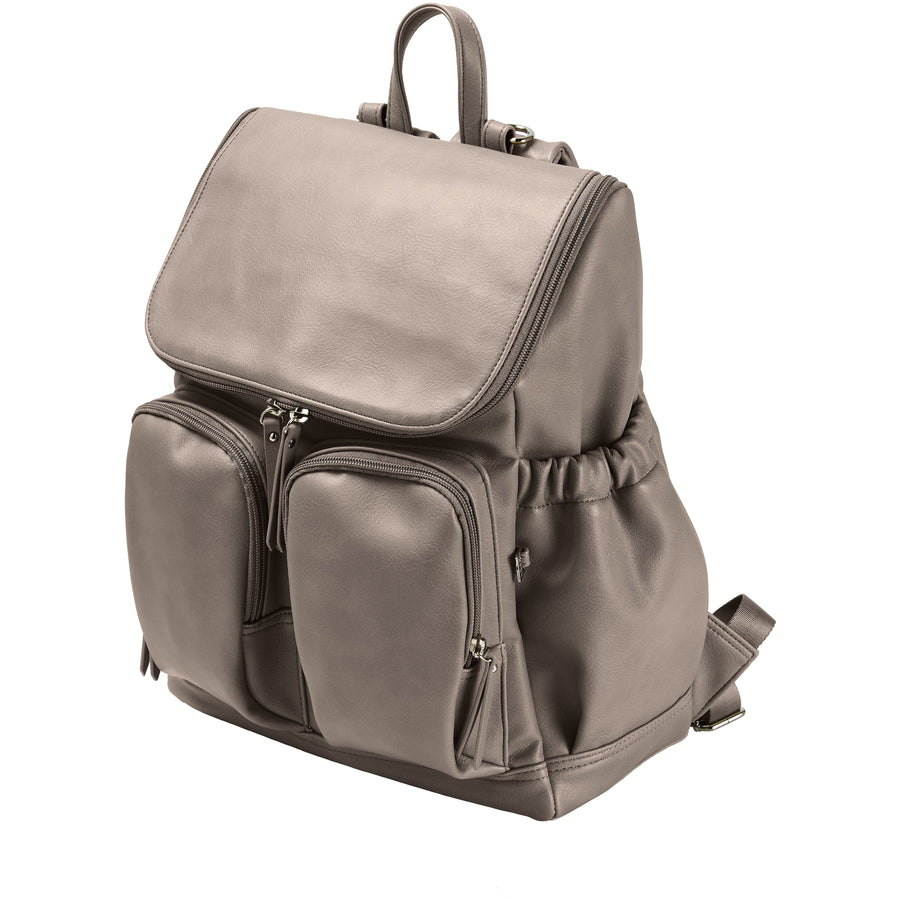OiOi Faux Leather Nappy Backpack - Taupe Nappy Bag OiOi