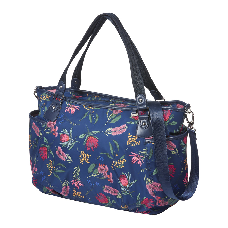 OiOi Tote Nappy Bag - Botanical Navy Nappy Bag OiOi