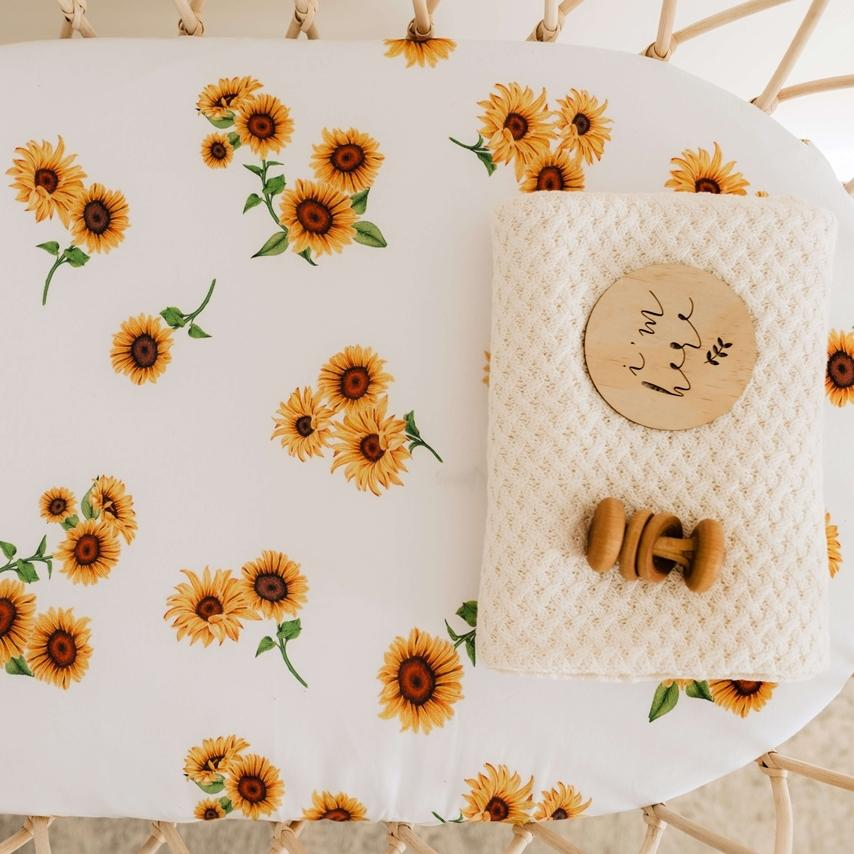Snuggle Hunny Kids Fitted Bassinet Sheet / Change Pad Cover - Sunflower Mats & Linen Snuggle Hunny Kids