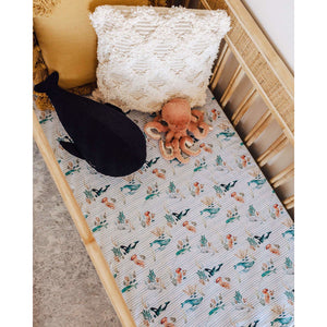 Snuggle Hunny Kids Fitted Cot Sheet - Whale Mats & Linen Snuggle Hunny Kids