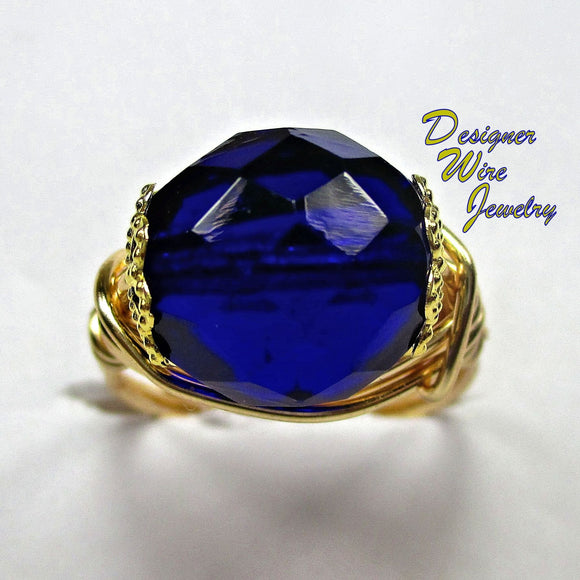 Stunning Czech Art Glass Cobalt Blue Artisan Gold Tone Wire Wrap Ring All Sizes
