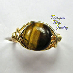 Stunning Gold Tiger Eye Gemstone Artisan Gold Tone Wire Wrap Ring All Sizes